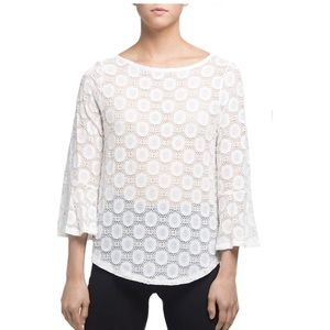 Nally & Millie white and gold bell sleeve top